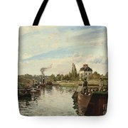 Barge On The Seine At Bougival Tote Bag by Camille Pissarro