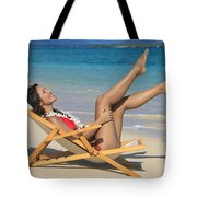 Beach Stretching II Tote Bag by Tomas del Amo