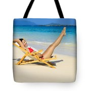 Beach Stretching Tote Bag by Tomas del Amo