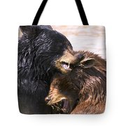 Bears In Water Tote Bag by Carson Ganci