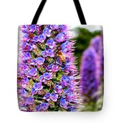 Bee On Purple Pride Of Madeira Flowers . 7d14835 Tote Bag by Wingsdomain Art and Photography