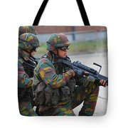 Belgian Infantry Soldiers In Training Tote Bag by Luc De Jaeger