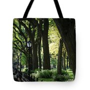 Benches Trees And Lamps Tote Bag by Rob Hans