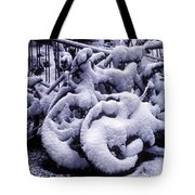 Bicycles Covered With Snow Tote Bag by Garry Gay