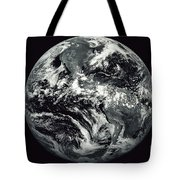 Black And White Image Of Earth Tote Bag by Stocktrek Images