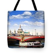 Blackfriars Bridge and St. Paul's Cathedral in London Tote Bag by Elena Elisseeva
