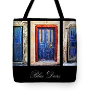 Blue Doors Of Santorini Tote Bag by Meirion Matthias