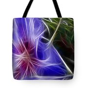 Blue Hibiscus Fractal Panel 1 Tote Bag by Peter Piatt