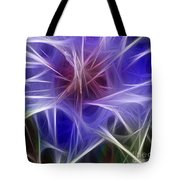 Blue Hibiscus Fractal Panel 2 Tote Bag by Peter Piatt