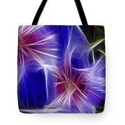 Blue Hibiscus Fractal Panel 4 Tote Bag by Peter Piatt