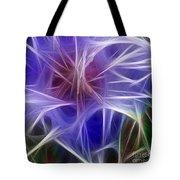 Blue Hibiscus Fractal Panel 5 Tote Bag by Peter Piatt