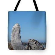 Blue Sky Coastal Landscape Driftwood Rock Pier Tote Bag by Baslee Troutman