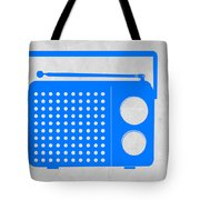 Blue Transistor Radio Tote Bag by Naxart Studio