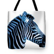 Blue Zebra Art Tote Bag by Rebecca Margraf