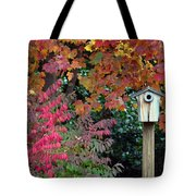 Bluebird House Color Surround Tote Bag by Sandi OReilly