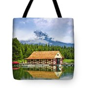 Boathouse On Mountain Lake Tote Bag by Elena Elisseeva
