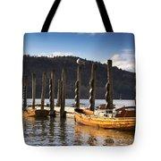 Boats Docked On A Pier, Keswick Tote Bag by John Short
