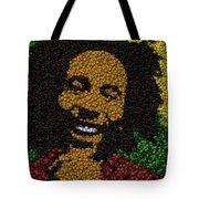 Bob Marley Bottle Cap Mosaic Tote Bag by Paul Van Scott