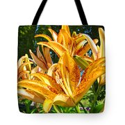 Bold Colorful Orange Lily Flowers Garden Tote Bag by Baslee Troutman