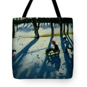 Boys Sledging Tote Bag by Andrew Macara