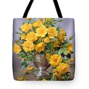 Bright Smile - Roses In A Silver Vase Tote Bag by Albert Williams