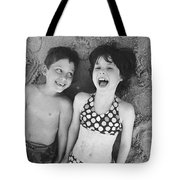 Brother And Sister On Beach Tote Bag by Michelle Quance