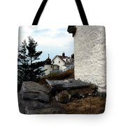 Browns Head Lighthouse Tote Bag by Skip Willits