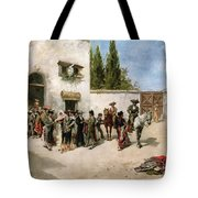 Bullfighters Preparing For The Fight  Tote Bag by Vicente de Parades
