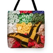 Butterfly And Buttons Tote Bag by Garry Gay