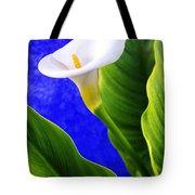 Calla Over Blue Tote Bag by Carlos Caetano