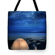 Camping Tent By The Lake At Night Tote Bag by Jill Battaglia