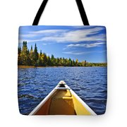 Canoe Bow On Lake Tote Bag by Elena Elisseeva