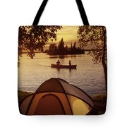Canoeing At Otter Falls, Whiteshell Tote Bag by Dave Reede