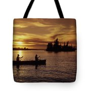 Canoeing At Sunset, Otter Falls Tote Bag by Dave Reede