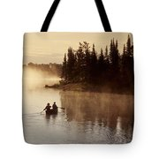 Canoeing On Winnipeg River, Pinawa Tote Bag by Dave Reede