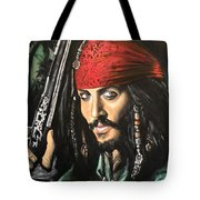 Captain Jack Sparrow Tote Bag by Tom Carlton