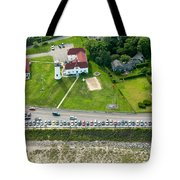 Cars Line Up At The Parking Lot At Chatham Lighthouse And Chatha Tote Bag by Matt Suess