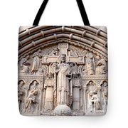 Carved Stone Biblical Mural Above Catholic Cathedral Doorway Tote Bag by Gary Whitton