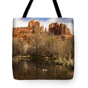 Cathedral Rock Reflections Portrait 1 Tote Bag by Darcy Michaelchuk