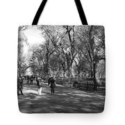 Central Park Mall In Black And White Tote Bag by Rob Hans