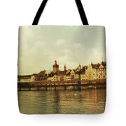 Chapel Bridge Lucerne Switzerland Tote Bag by Susanne Van Hulst