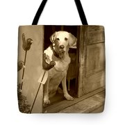Charleston Shop Dog In Sepia Tote Bag by Suzanne Gaff