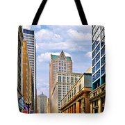Chicago - Looking South From Lasalle Street Tote Bag by Christine Till