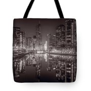 Chicago River East BW Tote Bag by Steve Gadomski
