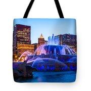 Chicago Skyline Buckingham Fountain High Resolution Tote Bag by Paul Velgos