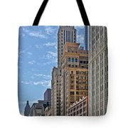 Chicago Willoughby Tower And 6 N Michigan Avenue Tote Bag by Christine Till