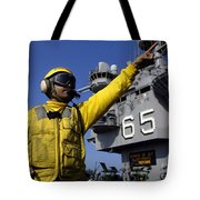 Chief Aviation Boatswains Mate Directs Tote Bag by Stocktrek Images