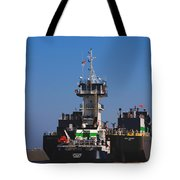 Christiana Oil Tanker Sitting In Galveston Tx Tote Bag by Susanne Van Hulst