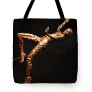 Citius Altius Fortius Olympic Art High Jumper On Black Tote Bag by Adam Long