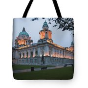City Hall Illuminated Belfast, County Tote Bag by Peter Zoeller